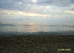 Пляж в курортном городке Адлера